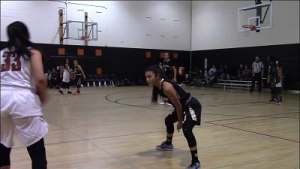 Senior Veronica Enriquez playing in the Scorpion Shootout Tournament  at Desert Edge over Thanksgiving break. Film screenshot.  Photo Credit to Zion Wiley.