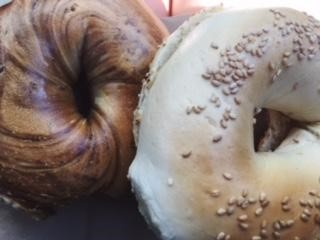 Two toasted bagels right out of the bag, before being devoured. A marvelous range of flavors from such a simple bagel. Photo by Jordan Argano.