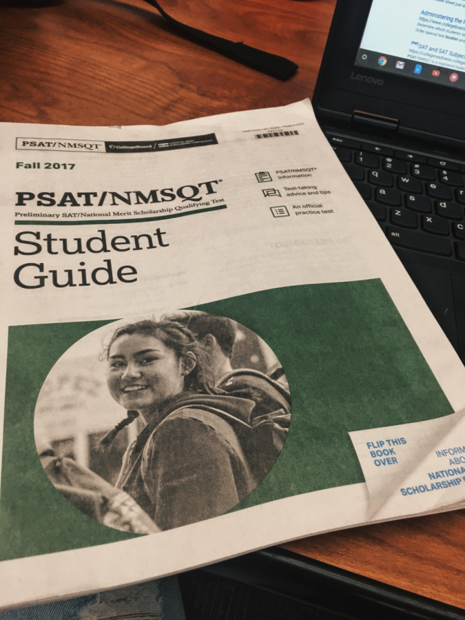 The PSAT prep guide for the upcoming 2017 fall exam. Photo by Jordan Argano.
