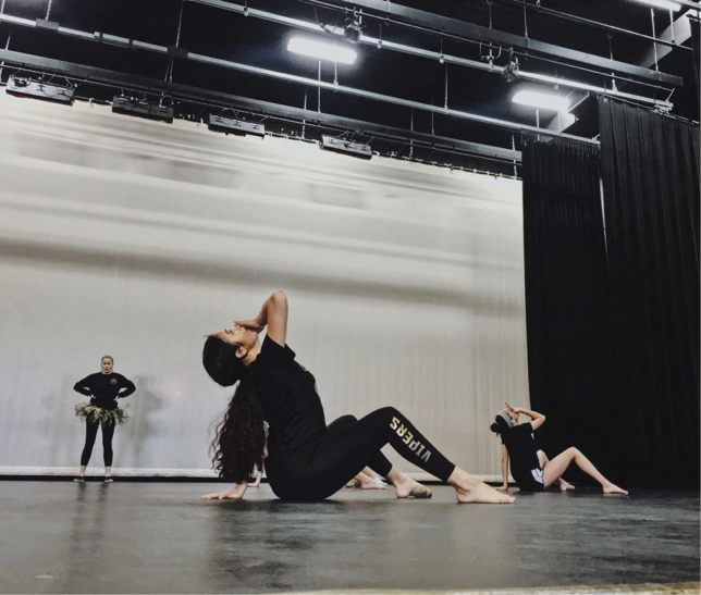 Performance dance rehearsing one of their group numbers for the show this week. Dance  students are working very hard on the numbers that they've been preparing. Photo credit to Jordan Argano.