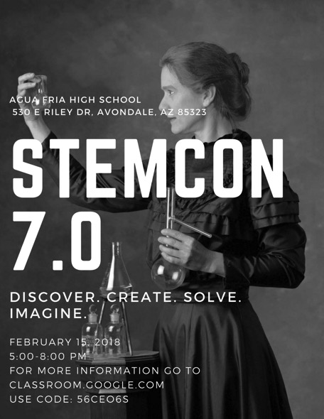 STEMCon 7.0 is an event where students in the AFUD will showcase their STEM projects to professional judges in competition for prizes. For no cost, people not presenting projects can participate in other competitions and raffles. (Flyer)