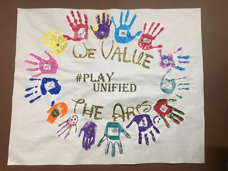 A poster made by the students in Swanson's classroom advocating the Unified Sports Program. Each hand represents a student and their unified partner. Photo credit to Abigail Nucci.