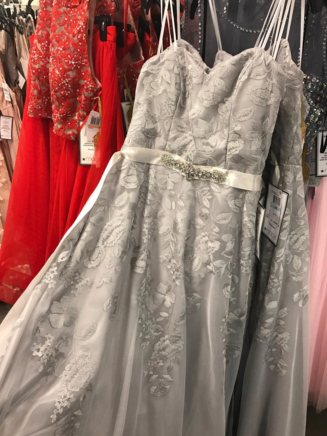 Prom dresses fill the entire back wall of the top floor of Dillard's. There were thousands of dresses to choose from. Photo credit to Sheri Edler.