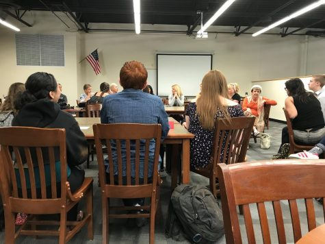 Verrado students participate in a Town Hall Q&A with the 10 speakers from Verrado's first Women's Expo. Each of the 10 speakers gave an example of one of the obstacles they had to overcome to dominate in a patriarchal society. Photo credit to Krysyan Edler.