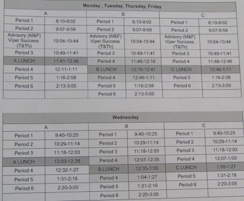 One of the new bell schedules printed for VHS