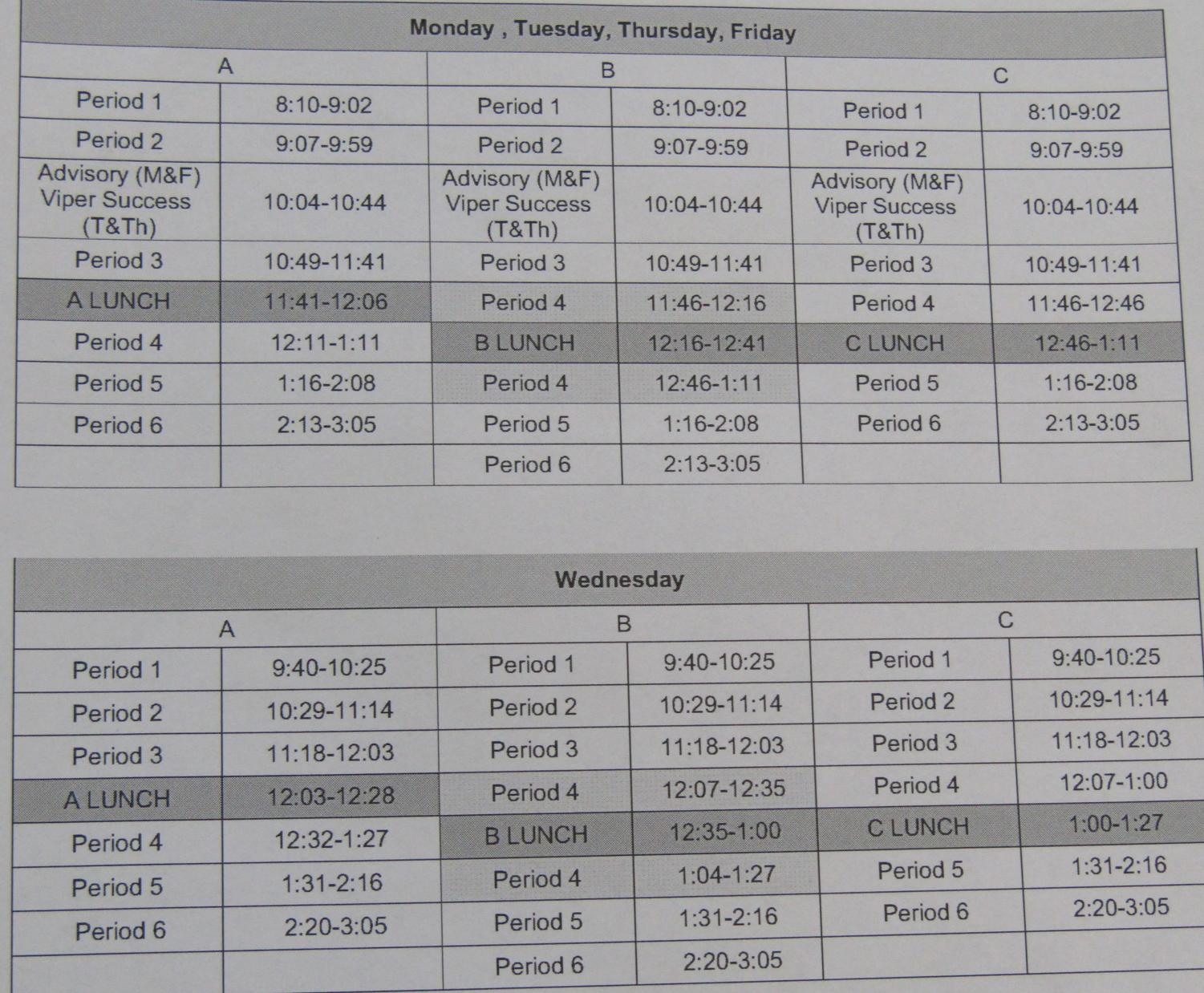 One of the new bell schedules printed for VHS's 2018-19 Academic Year, including a shortened bell schedule for Wednesdays.