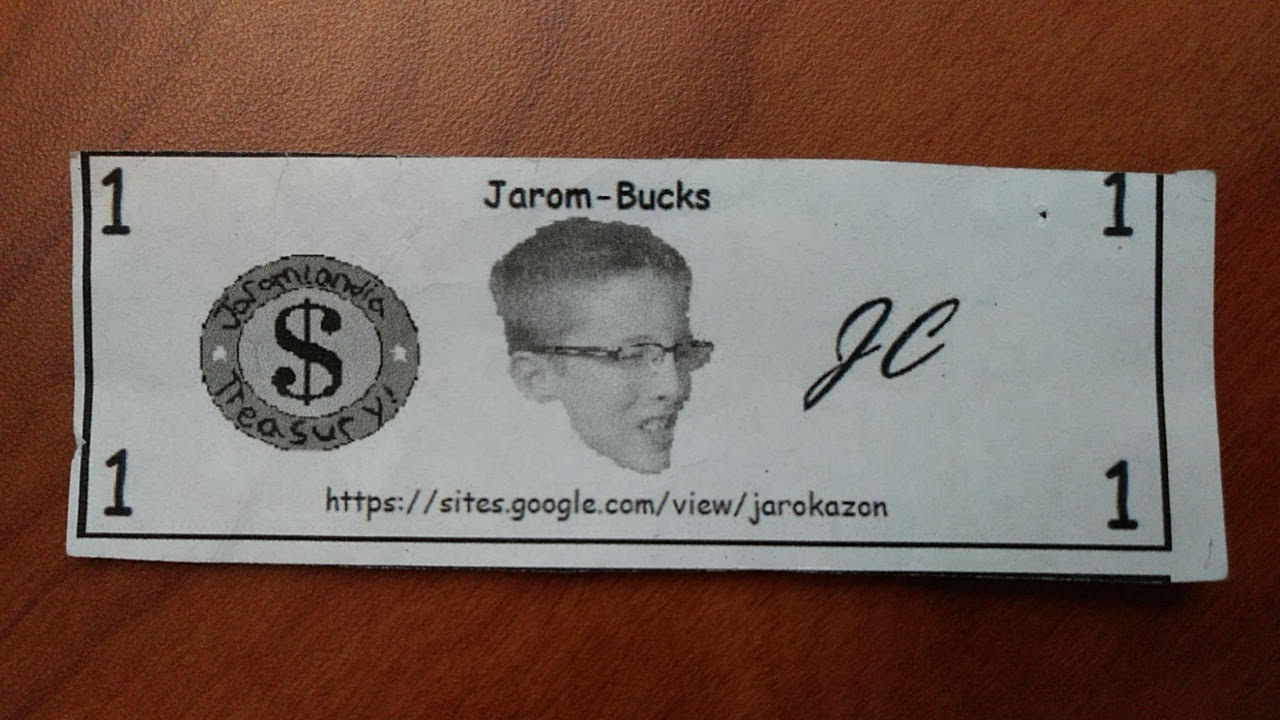 A standard Jarom Buck dollar bill, part of the currency used in the exchange of student-created art on Jarokazon.com.