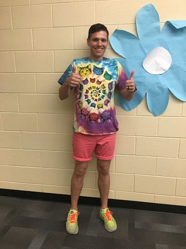 VHS staffer Brandon Watkins rocked the 70s vibe in a feline tie-dyed shirt and neon kicks.