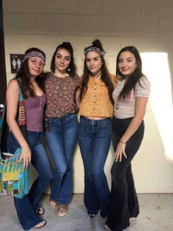 Analis Shaffer, Kaylee Pettit, Mckinzey Vigil and Sydney Shaffer all wore 70s gear for Monday
