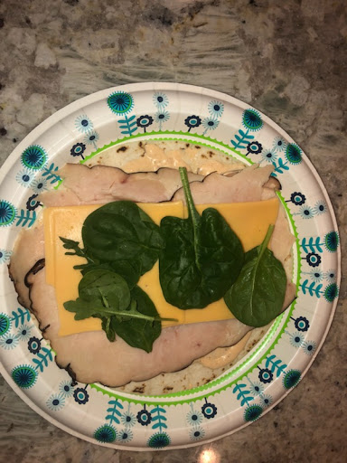 An+easy%2C+in-progress+turkey-and-spinach+wrap.