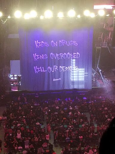 The stage for J. Cole's concert at the Talking Stick Resort Arena.