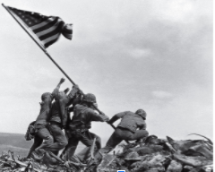 This photo was taken of soldiers raising the American flag on Iwo Jima, Feb. 23, 1945.       Photo credit: Joseph John Rosenthal