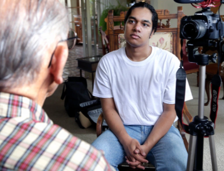 Rishi Sharma interviews a WWII veteran as part of his project to record all surviving veterans from the Second World War.