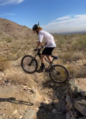 Verrado student Zander Wilson pushing the limits of his bike as he floats over an optional drop off jump.